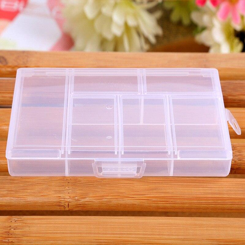 Caja De almacenamiento De 6 rejillas, recipiente pastillas, joyería, uñas artísticas, contenedor...