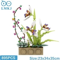 moc orchid plants vase potted flowers green orchid blossom building blocks brick diy mini model for kids educational toys gifts