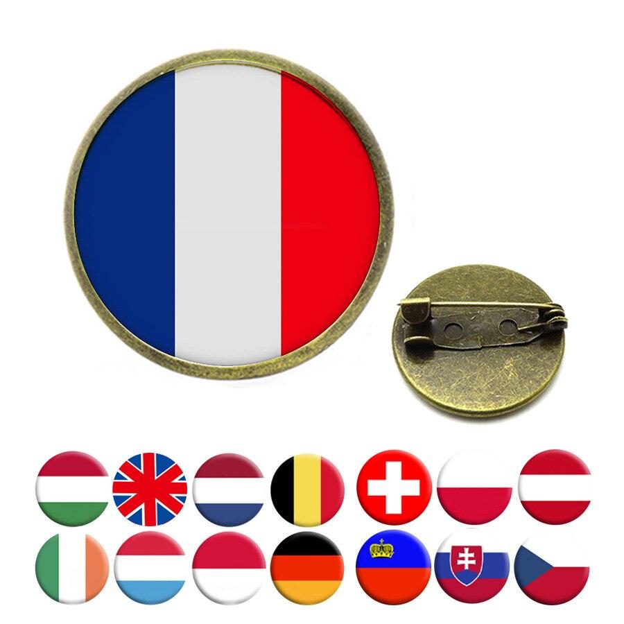 New National Flag Brooches United Kingdom France Netherland Belgium Ireland Germany Switzerland Poland Brooch Pins Jewelry
