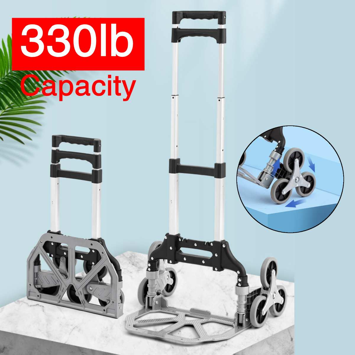 330lbs Climbing Hand Truck Aluminum Alloy Portable Climbing Cart 6 Crystal Wheels All Terrain Stair Climbing Cart