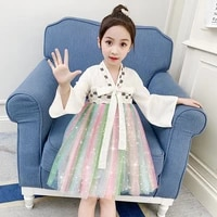 girls dress kids rainbow net gauze puffy dress girls daily casual clothes children birthday party carnival costumes 3 4 6 8 10t