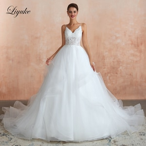 Liyuke Spaghetti Strap  A Line Wedding Dress Simple Lace With With Puffy Skirt Court Train