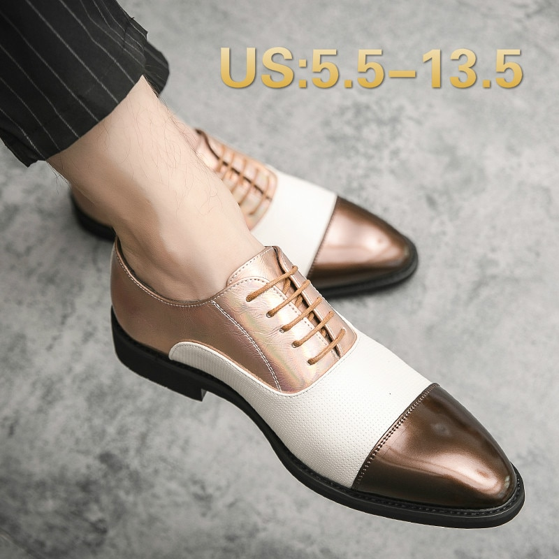 Mens Dress Shoes Genuine Leather Oxfords Men Wedding Shoes Party Whole Cut Formal Shoes for Men Handmade Shoes Plus US 5.5-13.5
