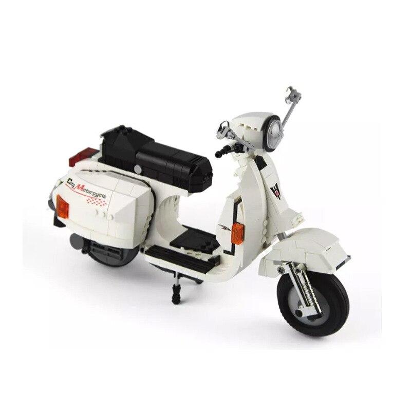 03002 732 pçs genuine técnica clássico série vespa p200 moto blocos de construção tijolos modelo menino presente