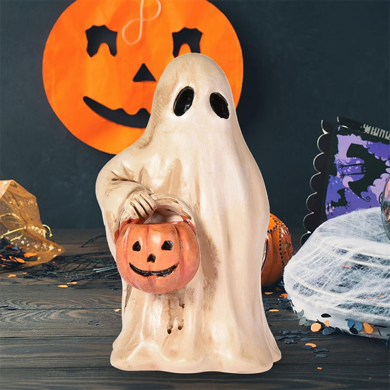 DIYAFS Halloween Statues Sculptures Resin Scary Ghost Pumpkin Statue Home Decor Decorative Craft Res