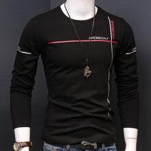 Camiseta gruesa de otoño para hombre, camisetas de manga larga con cuello redondo, Camisetas estampadas simples, Tops de algodón, ropa ajustada