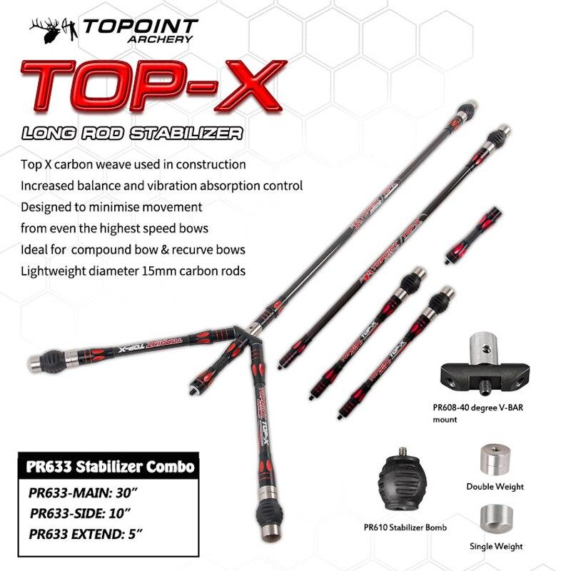 Topoint stabilisateur déquilibre Combo Main-barre + barre latérale + barre dextension + barre en V pour arc à poulies arc classique tir à larc