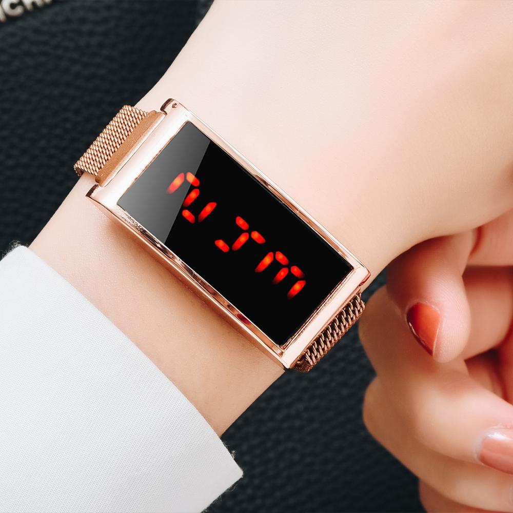 Reloj Mujer Women's Watches Luxury Gold Touch Screen Watch Geneva LED Digital Mesh Magnetic Watch Ladies Wristwatch Clock