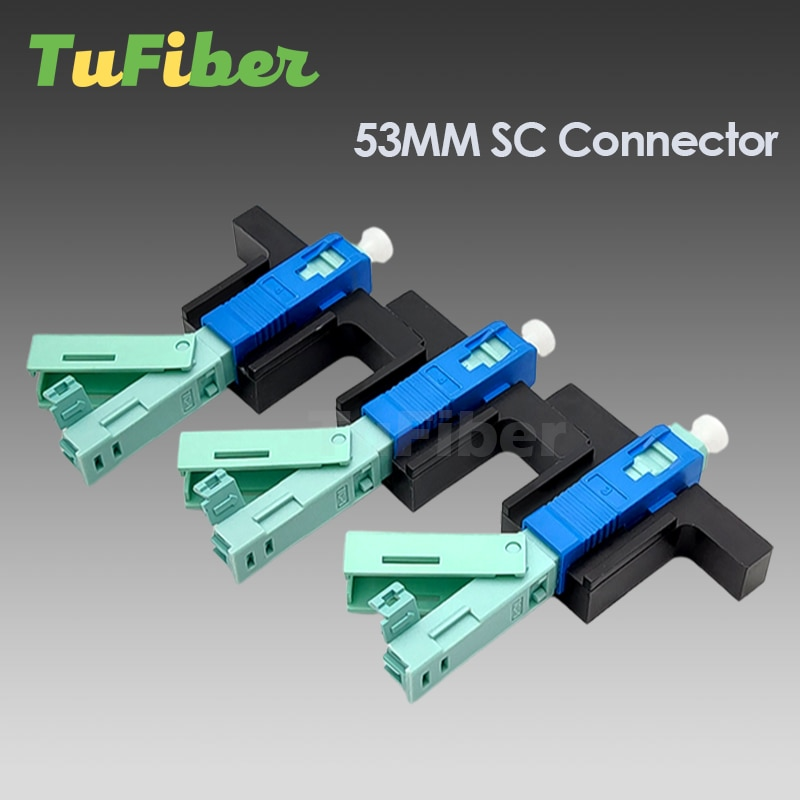 100/200Pcs High Quality 53MM SC UPC SM Single-Mode Optical Connector FTTH Tool Cold Connector Tool Fiber Optic Fast Connnector