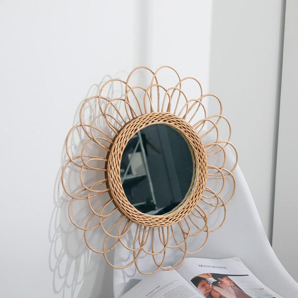 Espejo colgante de mimbre, girasol, Circular, decoración de espejo de pared, bohemio, vestidor de mimbre, Espejos de maquillaje NShopping