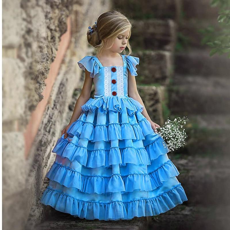 2020 New Year Dress Girl Kid Elegant Wedding Dress Lace Gown Children First Communion Dresses Teen Girls Blue Birthday