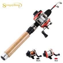 Sougayilang glace canne à pêche moulinet Combo 67cm carbone canne à glace avec Mini 2 couleurs moulinet à la traîne crevettes hiver pêche ensemble de matériel de pêche