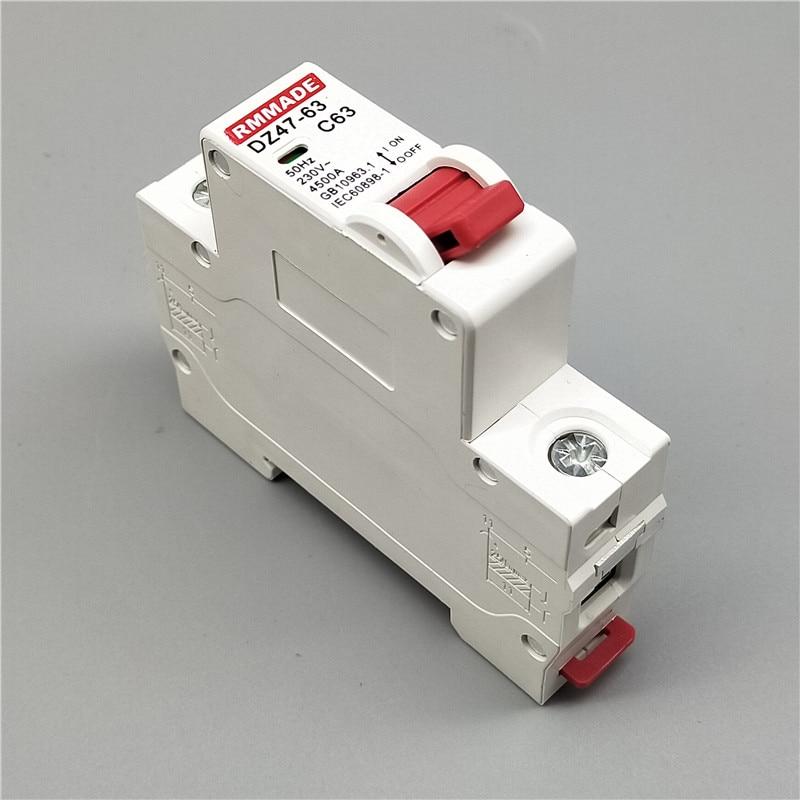 AC220V-400V DZ47 1P 6A/10A/16A/20A/25A/32A/40A/50A/63A Mini Circuit Breaker Cutout Miniature Household Air Switch