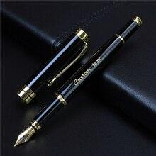 النص الذهبي مخصص محفورة قلم حبر مكتب مدرسة تذكارية هدية كامل معدن القلم طالب الكتابة القرطاسية