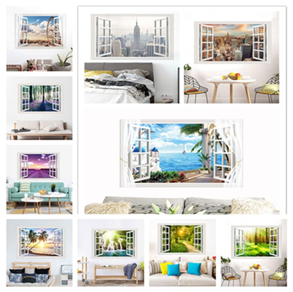 % 3D paisaje ventana pared exterior pegatina maderas lavanda flor mar pegatina sala de estar dormitorio hogar Fondo decoración de la pared