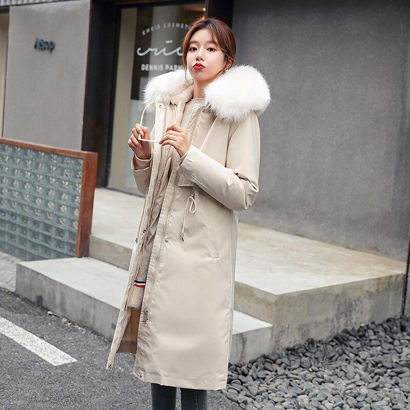 пальто женское Зимняя Толстая длинная парка, женская зимняя куртка с меховым воротником и капюшоном, женская одежда, плотное зимнее пальто, ...