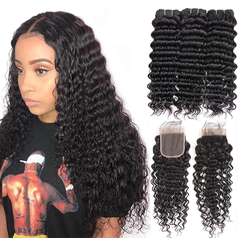 Deep Wave Bundles With Closure Brazilian Human Hair Weave 3 4 Bundles With Closure Remy 30 Inch Hair Natural Color Ms Love