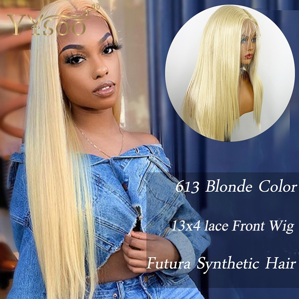 YYsoo Long Silky Straight 613 Color Synthetic 13x4 Lace Front Wigs Blonde Heat Resistant Japan Futura Hair Half Hand Tied Wig