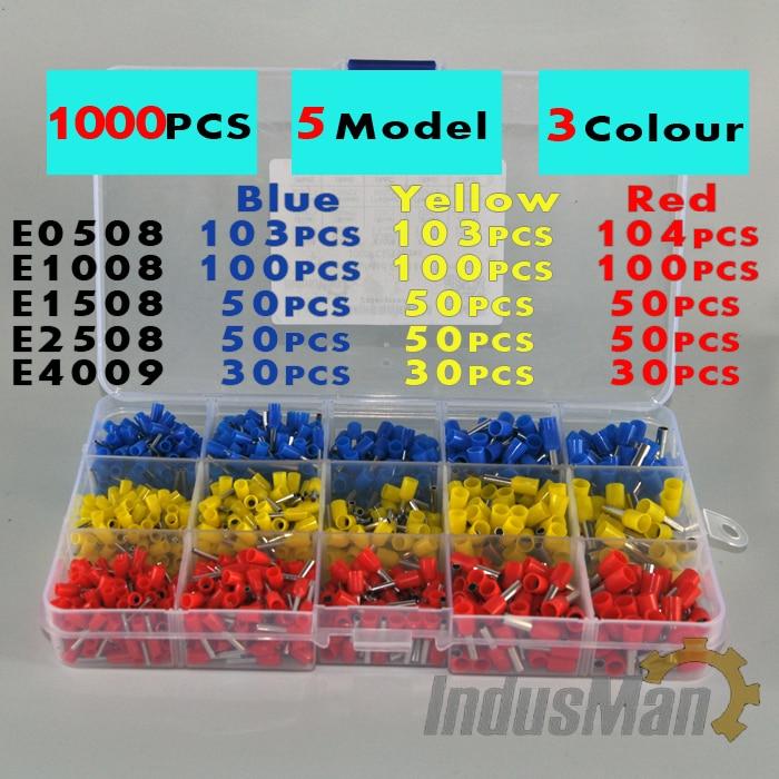 1000 unids/lote kit de casquillos de cobre, juego de cables, conector de virola de cobre, cable aislado, Terminal de extremo Pin