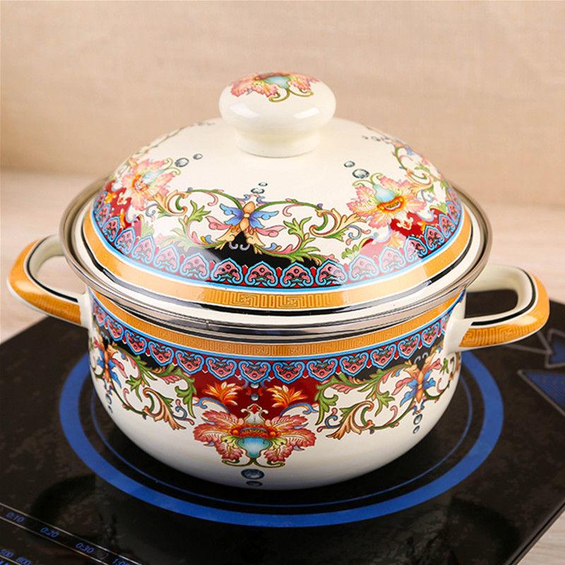 High-grade Enamel Pot Large Soup Pot Stew Pot Soup Pot Noodle Pot Flat-bottom Hot Pot Induction Cooker Gas Stove Universal