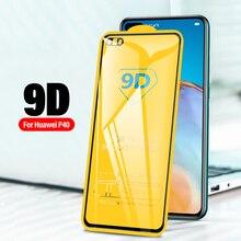 Protecteur décran 9D, couverture complète en verre trempé pour Huawei P40 Lite E 5G