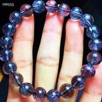 natural super seven 7 purple firework flower rutilated bracelet 9 2mm clear round beads women men genuine aaaaaaa