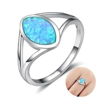 simple geometric ring fashion oval blue imitaiton fire opal ring for women accessories jewelry party gift
