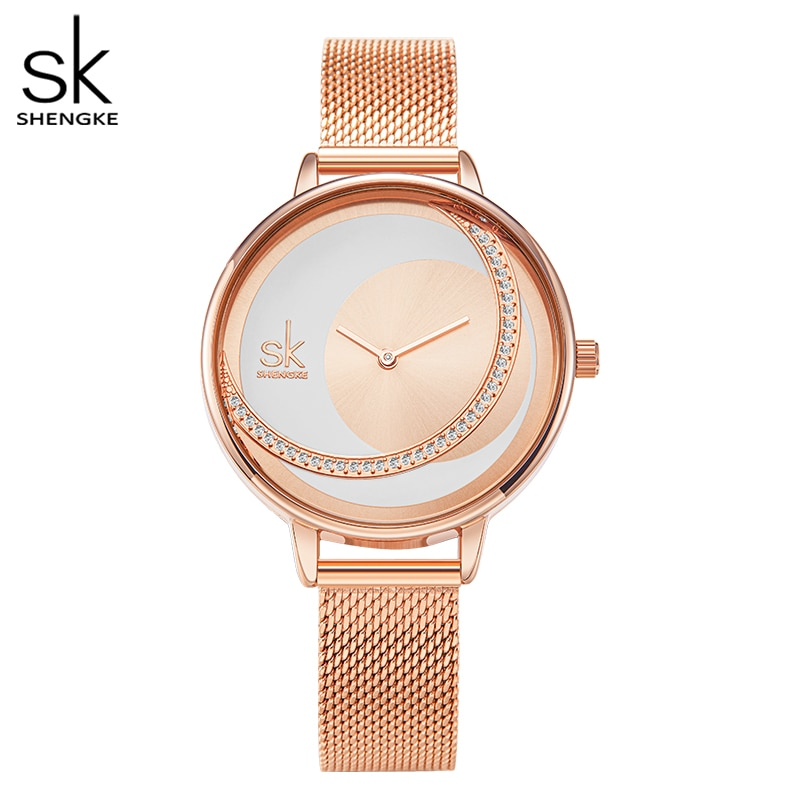 Shengke Fashion Women Watch Luxury Brand Lady Dress Watches Creative Design Stainless Steel/ Leather Strap Rosegold Wristwatch enlarge
