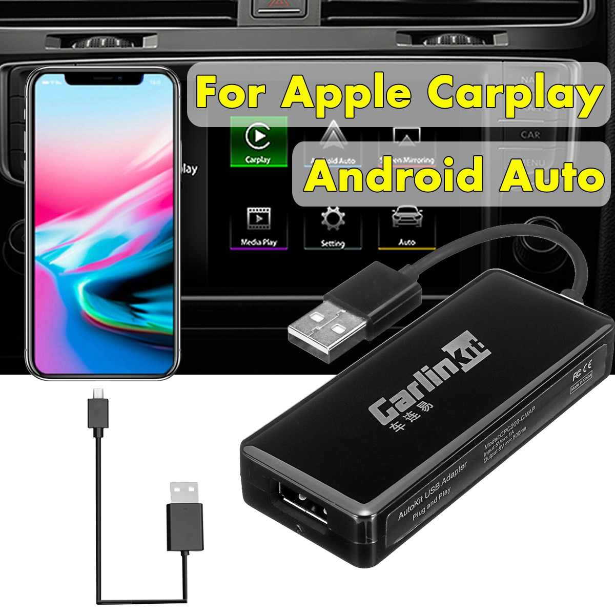 Carlinkit USB Smart Car Play Dongle For Android Car Navigation For Apple Carplay Module Auto Smart Phone USB Carplay Adapter
