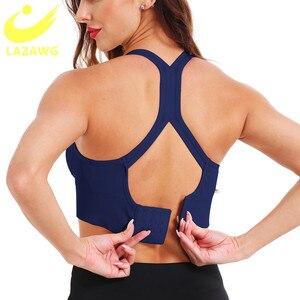 LAZAWG Women Sports Yoga Bras Top Seamless Push Up Brassiere Underwear Bra Crop Top Shockproof Fitness Gym Shirt Sportswear