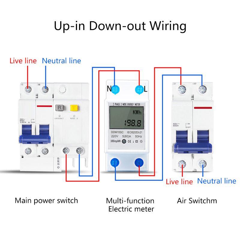Medidor de energia digital 1 fase 2 fios 5(80) um din rail energia eletrônica kwh medidor