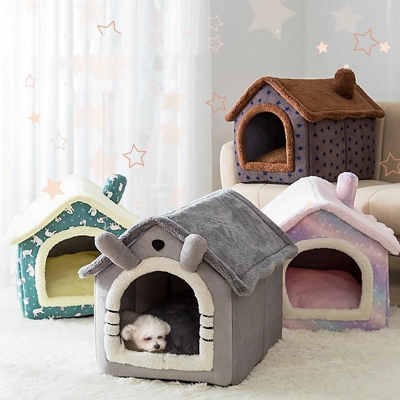 Casa de Gato plegable para dormir en el interior, cálido y acogedor, cama para gatos y perros pequeños, cómoda perrera para mascotas