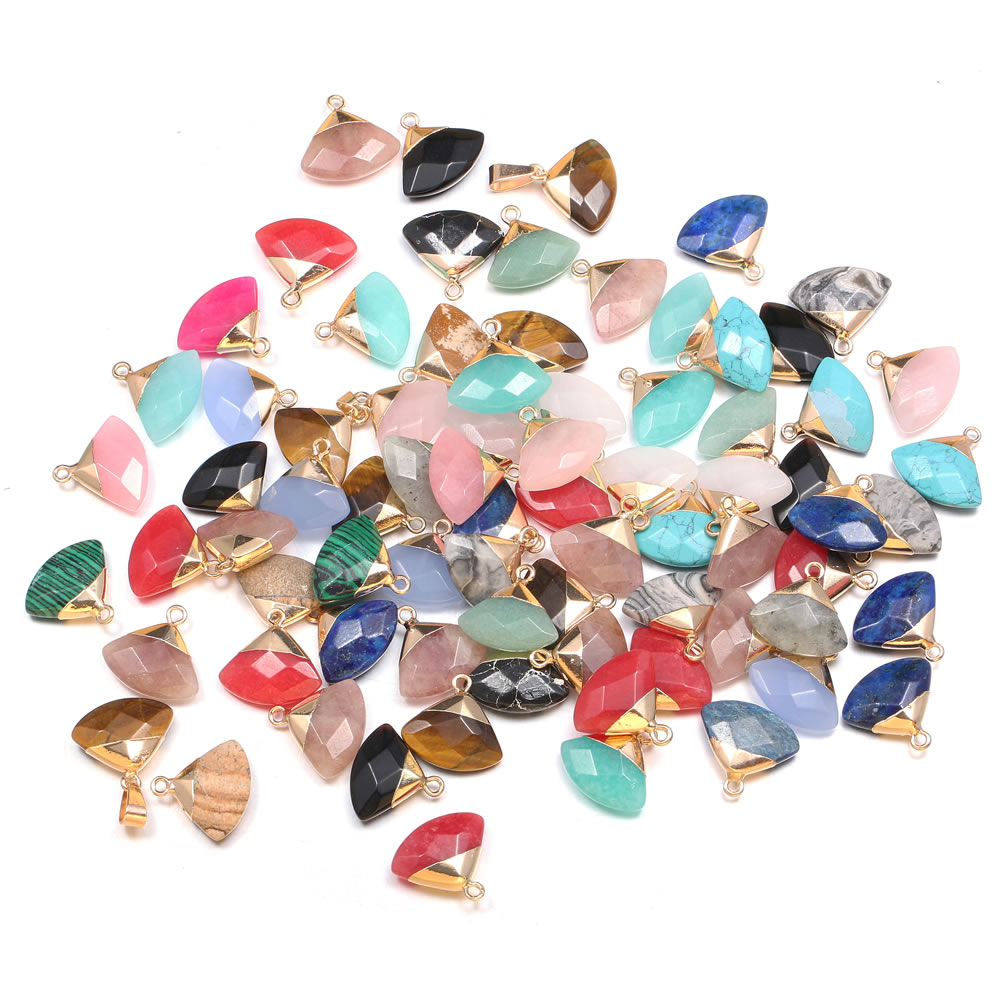 1PC Natural Stone Pendant Fan Shape Agates Quartz Charms For DIY Earring Necklace Jewelry Making Accessories Size 18x18mm  - buy with discount