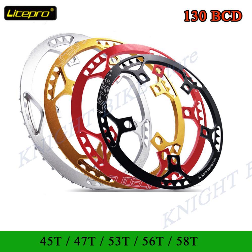 Litepro novo ultraleve 130 bcd 45 t 47 t 53 t 56 58 t a7075 liga bmx chainring dobrável bicicleta bmx chainwheel crankset dente