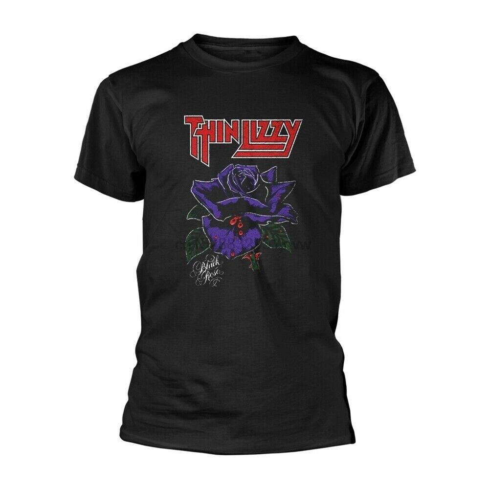 Tee shirt fine Rose noir LIZZY toutes tailles nouveau officiel Phil Lynott Gary Moore