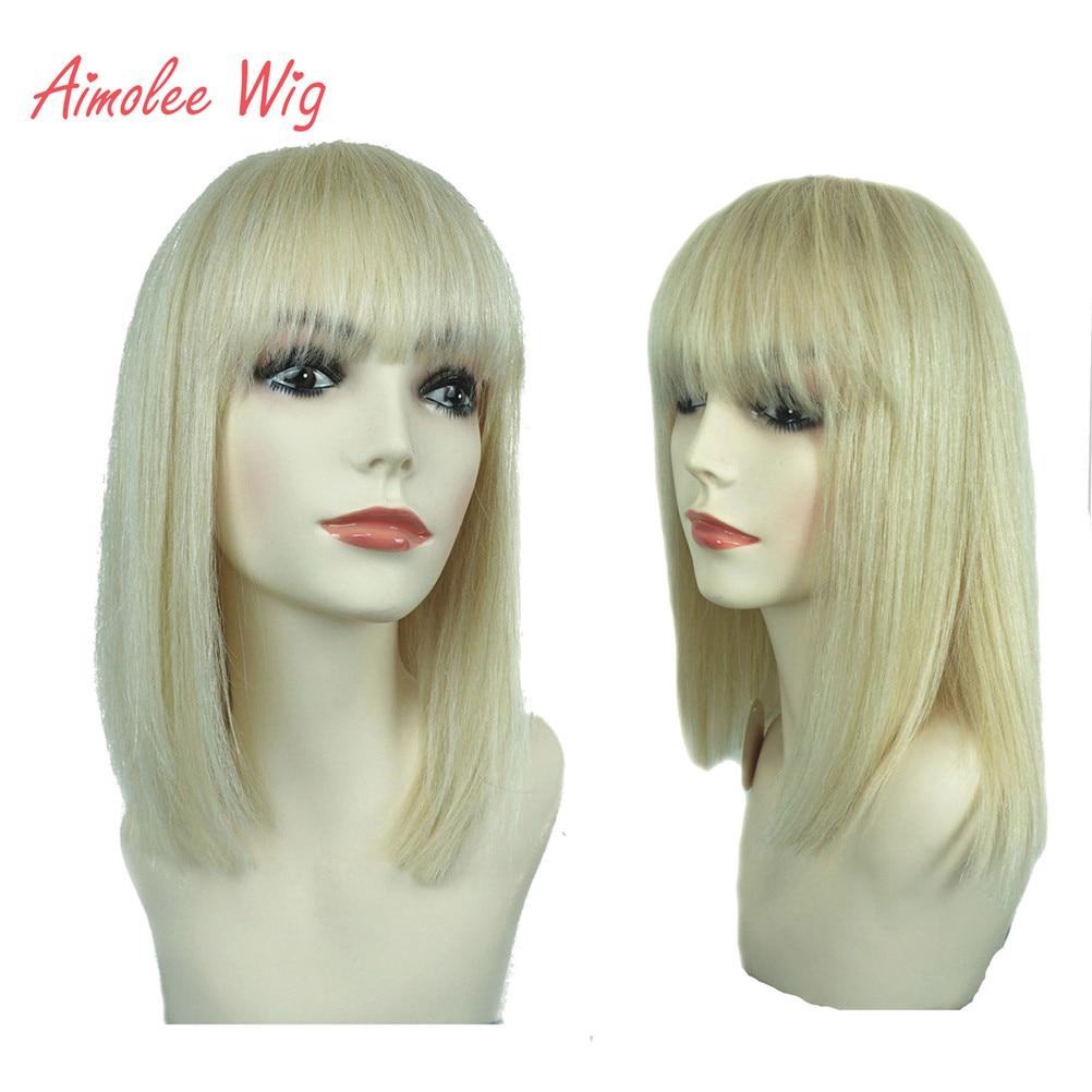 aimolee peruca de cabelo humano feminino bob cor 613 topo croche gancho perucas naturais