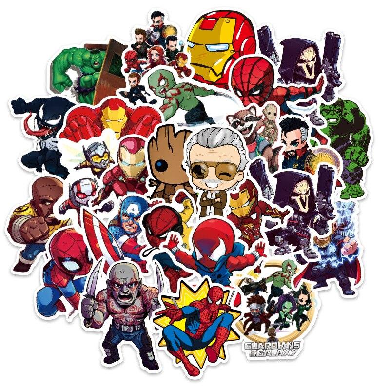 figuras-de-disney-marvel-pegatina-de-avengers-cool-anime-portatil-guitarra-equipaje-monopatin-pegatinas-de-juguete-para-ninos-10-100-uds