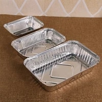 10pcs rectangle shaped disposable aluminum foil take out food containers without lid with lid kitchen