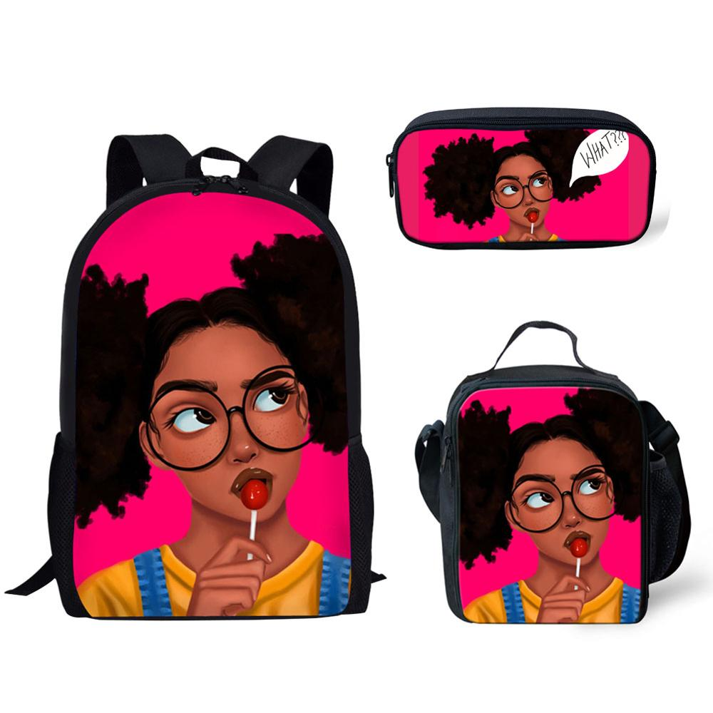 HaoYun Children Primary School Bags for Teenagers Black Arts African Girl Printing Book Bags Kids 3pcs/set Schoolbags Satchel