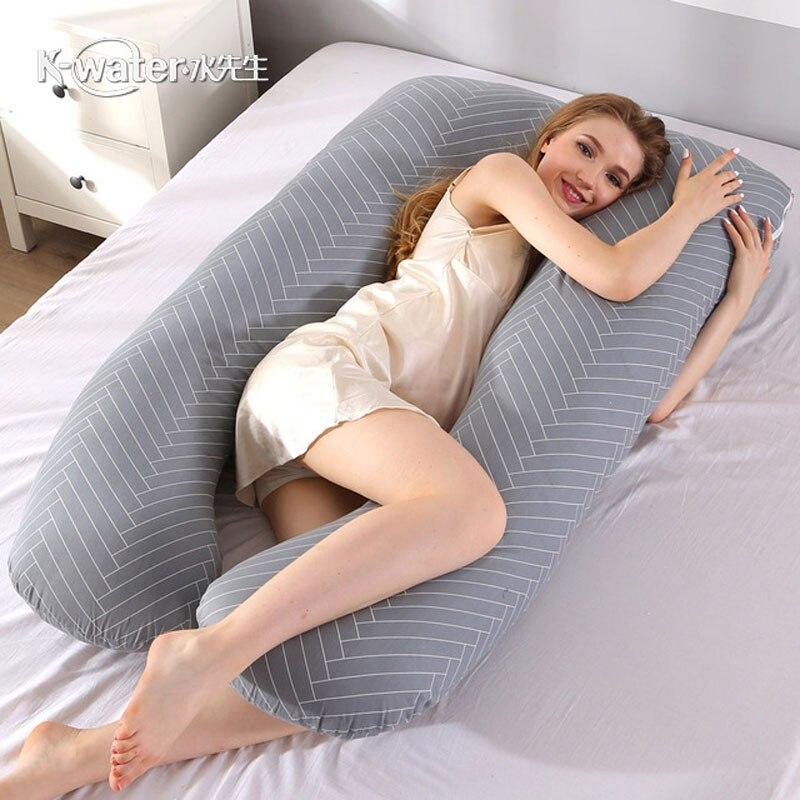 النوم وسادة داعمة النساء الحوامل الجسم 100% القطن U شكل الأمومة الساق قطني الوسائد الحمل الجانب النائمون رمي حلقة