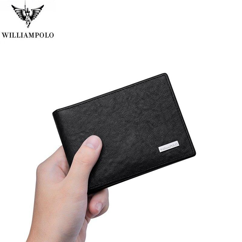 WILLIAMPOLO 2021 Genuine leather Ultra-thin mini Wallet men slim Card Holder Multi Card Case Slots B