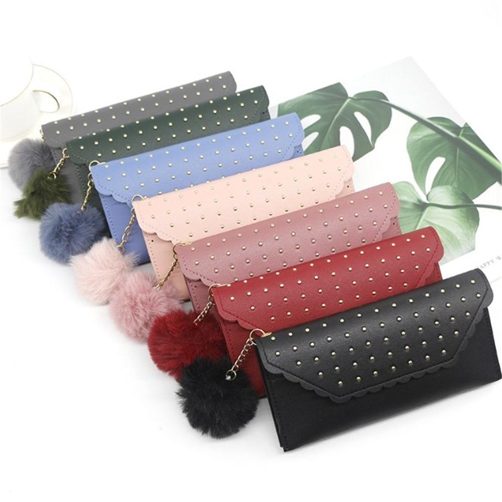 Women's Leather Wallet Retro Rivet Hasp Long Wallet Card Purses Pu Wallet Handbag Female Phone Bag For Women 2020