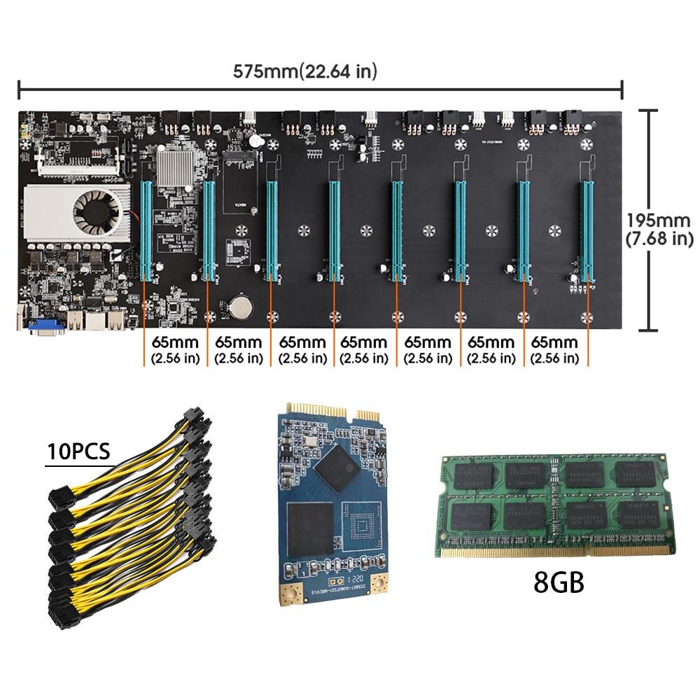 BTC-S37 Riserless Mining Motherboard 8 GPU Bitcoin Crypto Etherum Mining Set with 8GB DDR3 1600MHz RAM 1037U 128GB mSATA SSD
