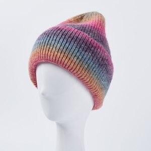 Winter Faux Wool Knitted Beanie Hat Unisex Harajuku Hip Hop Gradient Tie-Dye Rainbow Colorful Cuffed Ski Skullies Cap Streetwear