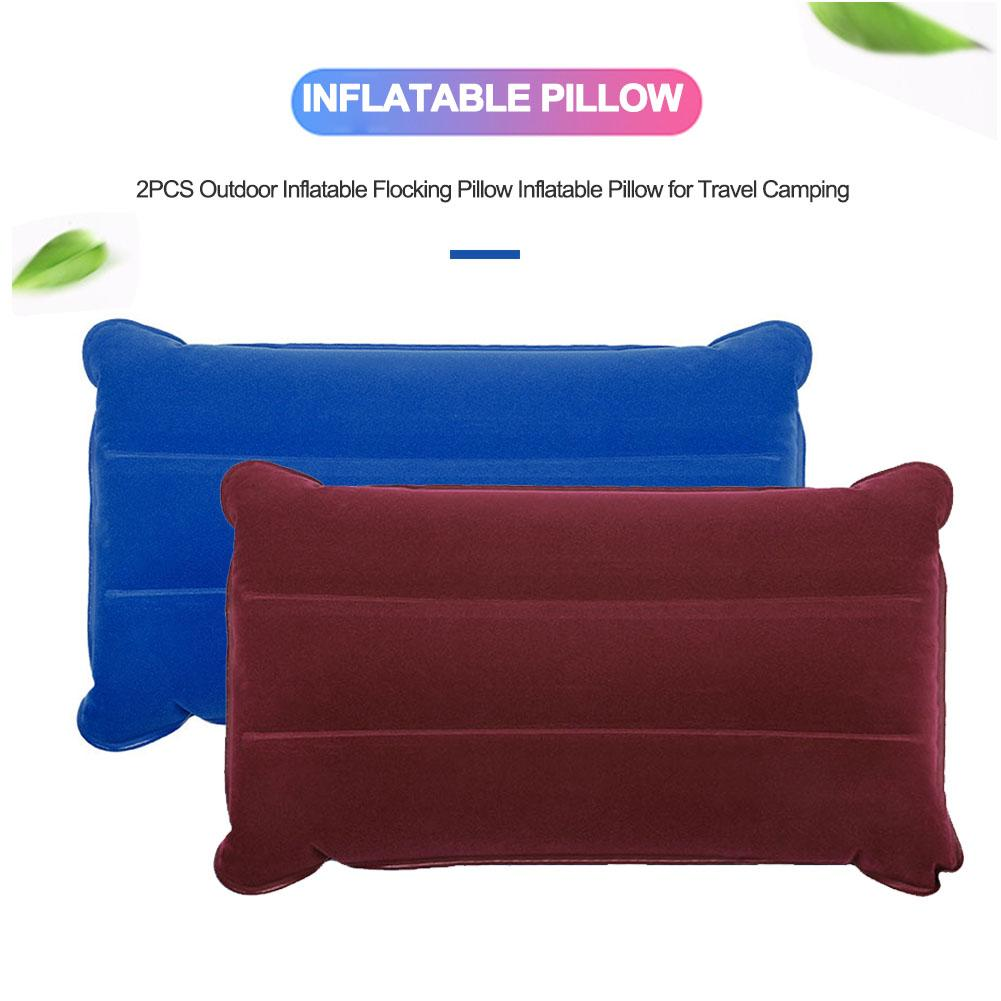 2PCS Portable Outdoor Inflatable Flocking Pillow Inflatable Pillow For Travel Camping Accessories