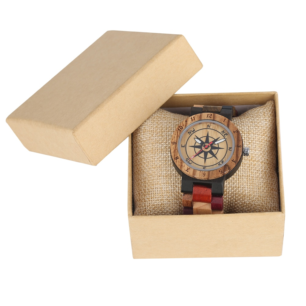 Color Matching Design Wooden Watches for Women Compass Dial with Luminous pointers Wood Watch Colorful Strap orologio donna
