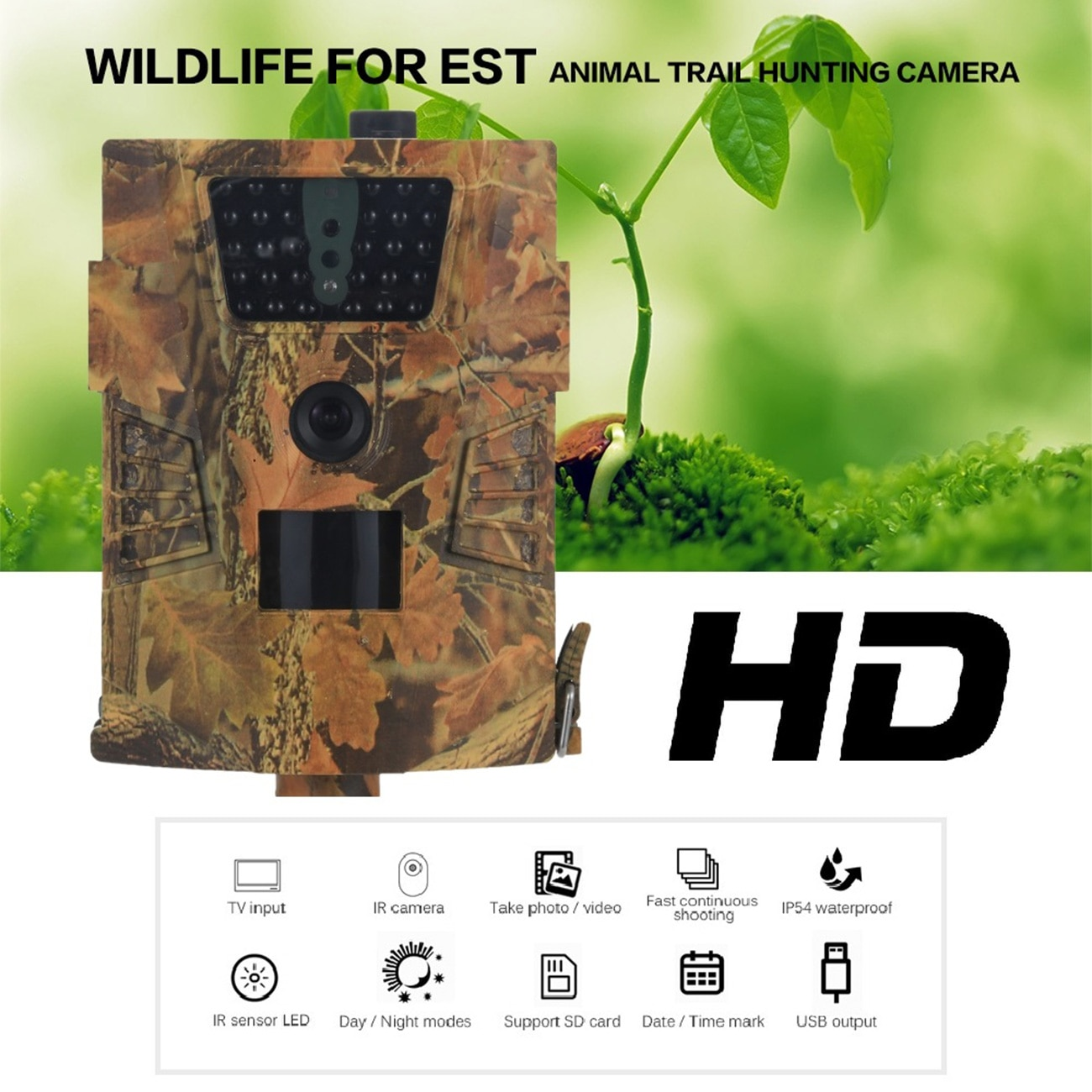 mini trail game camera night vision 1080p 12mp waterproof hunting camera outdoor wild photo traps with ir leds range up to 65ft HT001B Trail Camera 850nm IR LED 1s Trigger Time Wild Hunting Cameras 12MP 1080P Night Vision Wildlife Animal Photo Traps Camera