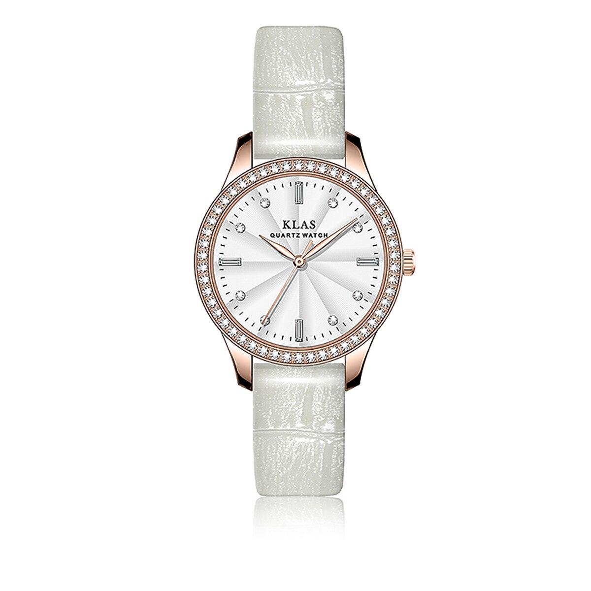 تصميم حزام صحيح 14.0*12.0 ملم مع زر ساعة كوارتز مقاوم للماء ساعة نسائية KLAS العلامة التجارية