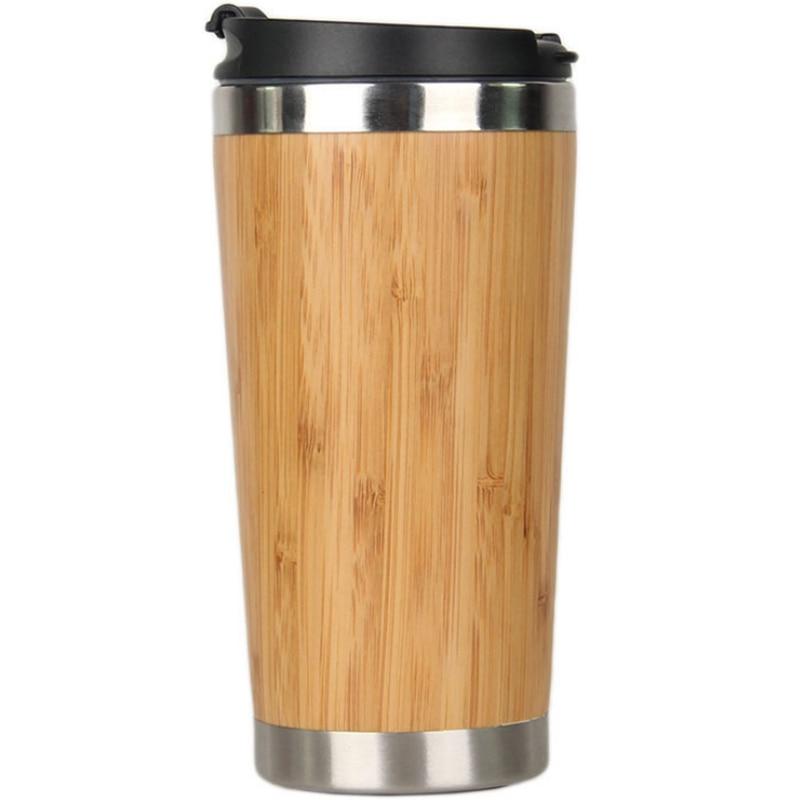 Tasse de voyage de café dacier inoxydable de tasse de café en bambou de 450Ml avec la couverture imperméable café isolé accompagnant la tasse Woode réutilisable