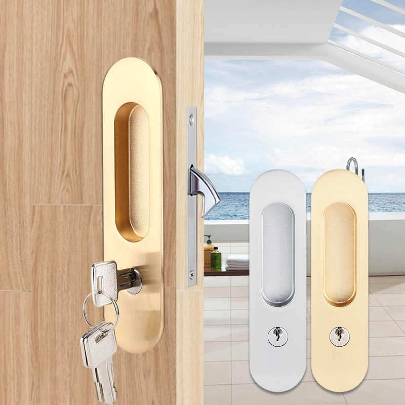 Sliding Door Lock Handle Anti-theft with Keys For Barn Wood Furniture Hardware Door Latch Lock for Double Doors Cerradura